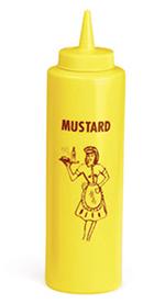 Tablecraft 1112M 12-oz Nostalgia Squeeze Dispenser, Mustard, Soft Polyethylene