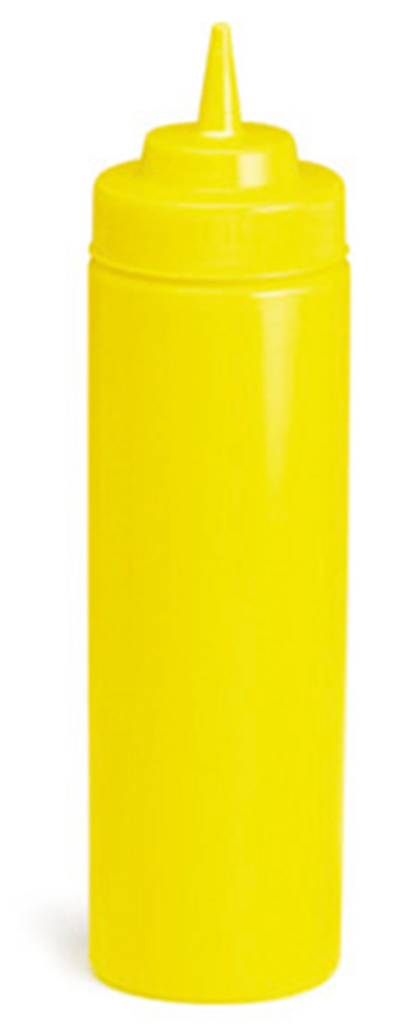 Tablecraft 11253M 12-oz Wide Mouth Squeeze Dispenser, Mustard, Standard Cone Tip