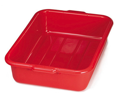 Tablecraft 1529R Polyethylene Stackable Tote Box, 21.25 x 15.75 x 5-in, Red