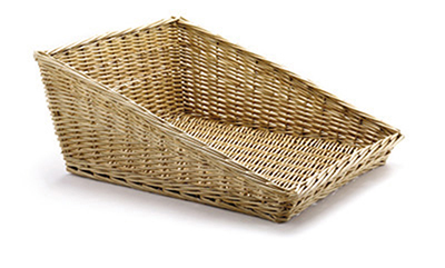 Tablecraft 161716 Willow Basket, 19 x 15-1/2 x 2-in Front, 7-1/2-in Back, Angled