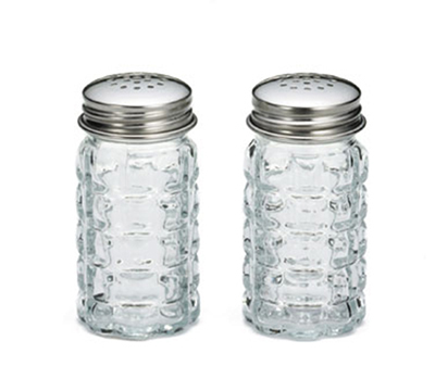 Tablecraft 163S&P 1.5-oz Nostalgia Glass Salt Pepper Shaker w/ Stainless Steel Tops