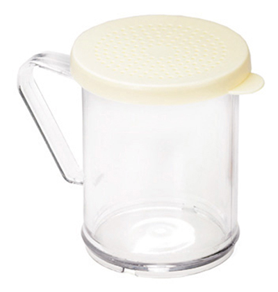 Tablecraft 166A 10-oz Dredge Shaker, Poly With Handle & Beige Plastic Lids