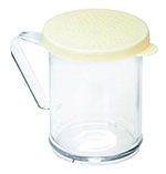 Tablecraft 166B 10-oz Dredge Shaker, Poly With Handle & Green Plastic Lids