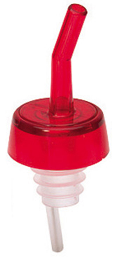 Tablecraft 1806 Free Flow Whiskey Pourer, Plastic, Red Spout, Red Collar