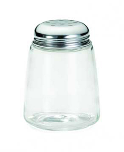 Tablecraft 261 8-oz Cheese Shaker w/ Modern Glass, Chrome Plated Perforated Top