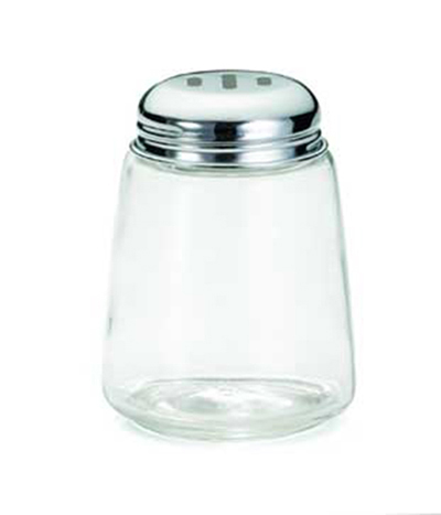 Tablecraft 262 8-oz Cheese Shaker w/ Modern Glass, Chrome Plated Slotted Top