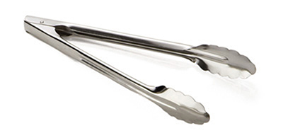 "Tablecraft 2712 12"" Stainless Steel Utility Tong w/ Heavyweight 1.2-mm"