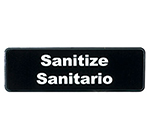 "Tablecraft 394595 3 x 9"" Sign, Sanitize / Sanitario"