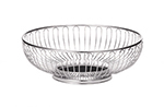 "Tablecraft 4175 Round Chalet Basket, 9-3/4 x 3"", Chrome Plated"