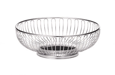 Tablecraft 4175 Round Chalet Basket, 9-3/4 x 3-in, Chrome Plated