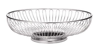 Tablecraft 4171 Oval Chalet Basket, 7-1/4 x 5-1/2-in x 2-1/2-in, Chrome Plated