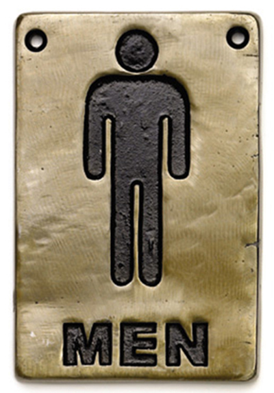 "Tablecraft 465635 Sign, 4 x 6"", Men Restroom, Antique Bronze"