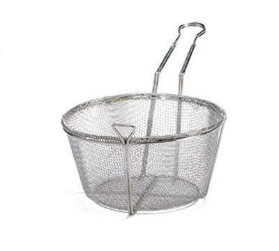 "Tablecraft 488 9.5"" Round Fryer Basket, Nickel Plated"