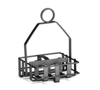 Tablecraft 606RBK Black Powder Coated Condiment Rack w/ Built-In Merchandising Ring