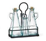 Tablecraft 61517NBK Marbella 5-Piece Oil & Vinegar Set w/ Stainless Steel Tops