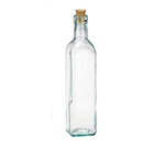 Tablecraft 616 16-oz Prima Green Glass Olive Oil Bottle w/ Cork Stopper, Square