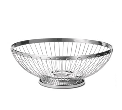 "Tablecraft 6174 Oval Regent Basket, 9-1/2 x 7-1/4"", 18-8 Stainless Steel"