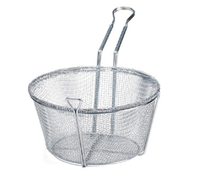 "Tablecraft 688 9.5"" Round Fryer Basket, Nickle Plated"