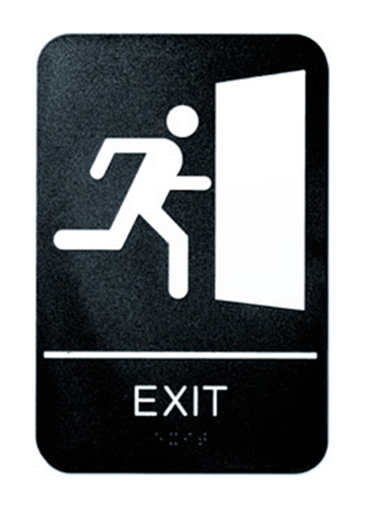"Tablecraft 695649 6 x 9"" Sign, Exit Symbol, White On Black"