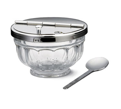 Tablecraft 71004 12-oz Hinged Glass Bowl Set w/ Stainless Steel Top, Includes Spoon