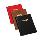 Tablecraft 811B Transparent Menu Cover, Two-Fold, Gold Stamped Menu, Vinyl Black