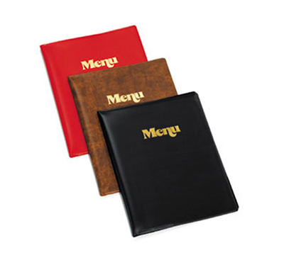 Tablecraft 811W Transparent Menu Cover, Gold Stamped Menu, Vinyl Wood Grain