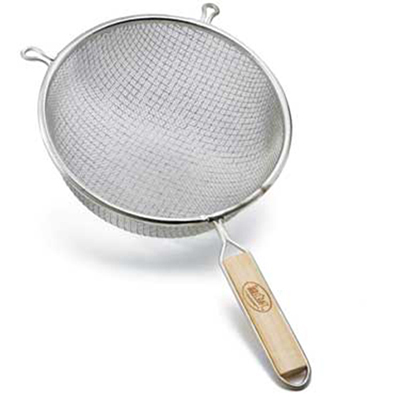 Tablecraft 98188 8-in Stainless Steel Medium Mesh Strainer w/ Wooden Handle, Double