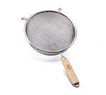 "Tablecraft 94 8"" Tinned Fine Mesh Strainer w/ Wooden Handle, Single"