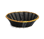 Tablecraft 875B Round Handwoven Basket, 8 x 2-1/4-in, Black Vinyl w/ Gold Trim