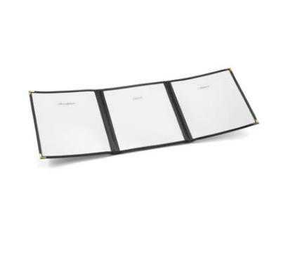 Tablecraft 901B Transparent Menu Cover, 8-1/2 x 11-in, Folding, Black Border
