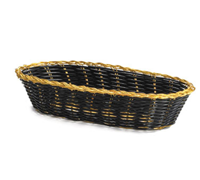 Tablecraft 917B Oblong Handwoven Basket, 9 x 4 x 2-in, Black Vinyl, Gold Trim