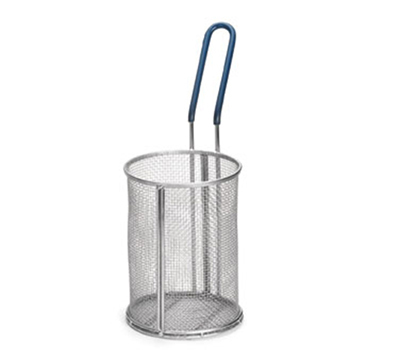 Tablecraft 985 Stainless Steel Pasta Basket, 5-1/4 x 7-in Round, Blue Handle