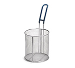 "Tablecraft 986 Stainless Steel Pasta Basket, 6-1/2 x 7"" Round, Blue Handle"