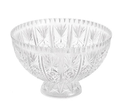 Tablecraft 998-1C 12-Quart Styrene Crystal Ware Punch Bowl w/ Pedestal Base