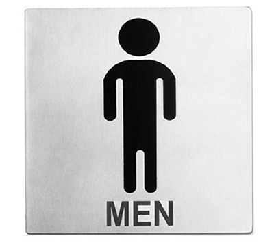 "Tablecraft B10 Stainless Steel Sign, 5 x 5"", Men Restroom"
