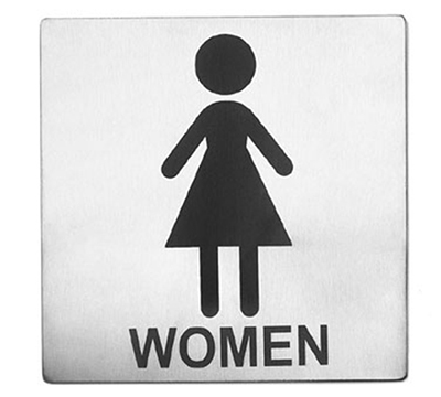 Tablecraft B11 Stainless Steel Sign, 5 x 5-in, Women Restroom