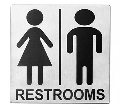 Tablecraft B12 Stainless Steel Sign, 5 x 5-in, Men/Women Restroom