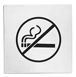 Tablecraft B14 Stainless Steel Sign, 5 x 5-in, No Smoking