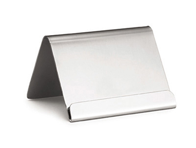 Tablecraft B17 Stainless Steel Card Holder w/ Lip, 2-1/2 x 2 x 2-in