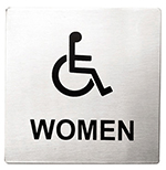 "Tablecraft B21 Stainless Steel Sign, 5 x 5"" Women/Accessible"