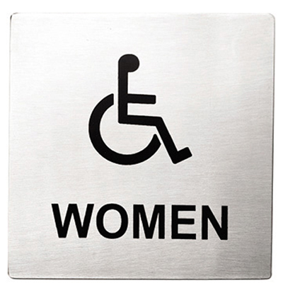 Tablecraft B21 Stainless Steel Sign, 5 x 5-in Women/Accessible