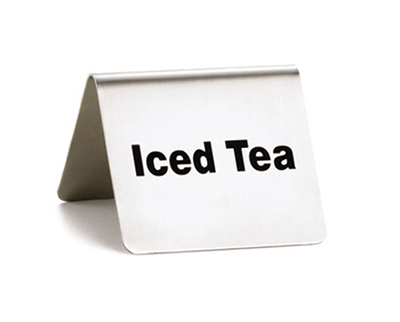 "Tablecraft B4 ""Iced Tea"" Table Tent Sign - 2"" x 2.5"", Stainless"