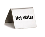 "Tablecraft B7 ""Hot Water"" Table Tent Sign - 2"" x 2.5"", Stainless"