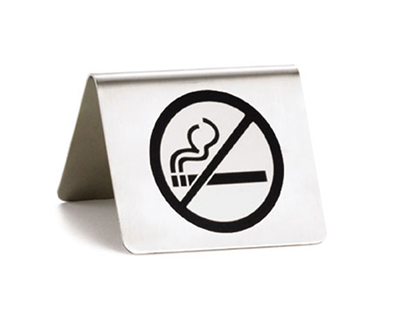 "Tablecraft B8 ""No Smoking"" Table Tent Sign - 2"" x 2.5"", Stainless"