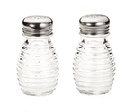 Tablecraft BH2 2-oz Glass Salt Pepper Shakers w/ Stainless Steel Tops