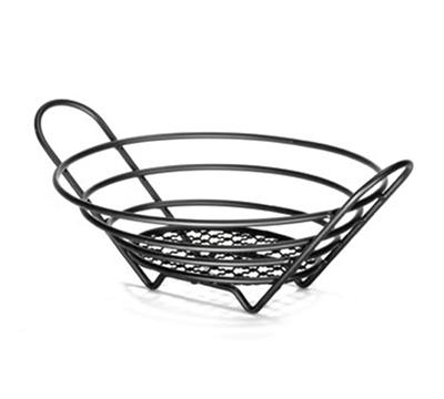 Tablecraft BKH717610 Round Black Metal Round Serving Basket, 10 x 7-1/2 x 3-1/4-in