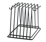 Tablecraft CBR6BK Black Vinyl Coated Cutting Board Storage Rack w/ Six Hooks