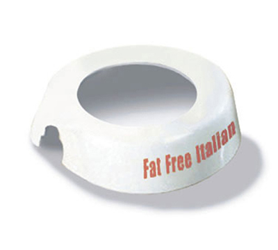 Tablecraft CM16 White Plastic Dispenser Collar w/ Maroon Print, Fat Free Italian
