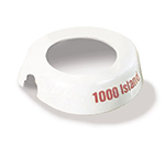 Tablecraft CM8 White Plastic Dispenser ID Collar w/ Maroon Print, 1000 Island