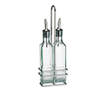 Tablecraft H9085N 8-1/2-oz Prima Square Green Glass Set w/ Chrome Plated Rack